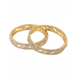 Metal Yellow Gold Bangle Set (pack Of 2)