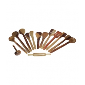 Desi Karigar Wooden Kitchen Tools Set Of 14