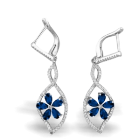 Blue Flower Shape Aura Earrings