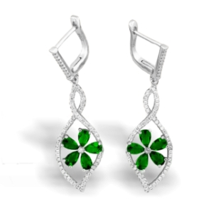 Green Flower Shape Aura Earrings
