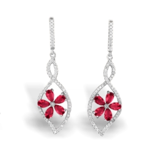 Red Flower Shape Aura Earrings