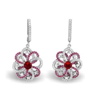 Flower Design Earrings (red Color)