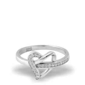 Heart Shape Platinum Plated Ring