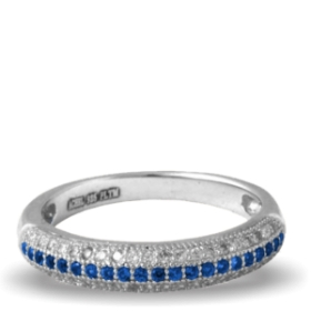 Blue Platinum Plated Diamond Ring (aura Rings)