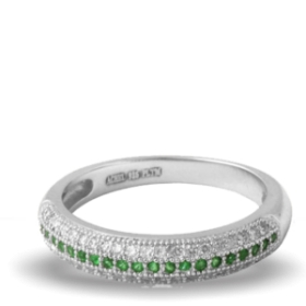 Green Platinum Plated Diamond Ring (aura Rings)