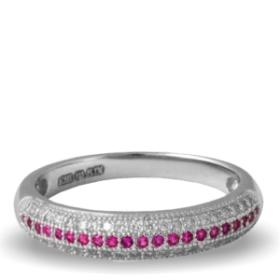 Pink Platinum Plated Diamond Ring (aura Rings)