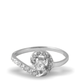 Pure Silver Real Diamond Ring With Platinum Polish For Women