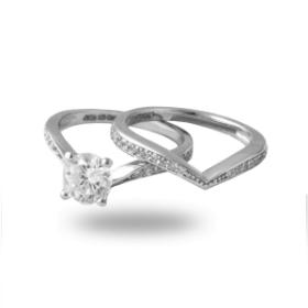 Platinum Plated  Diamond Ring (sparkle Rings)