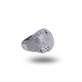 Pure Silver Base Diamond Ring With Platinum Polish For Women
