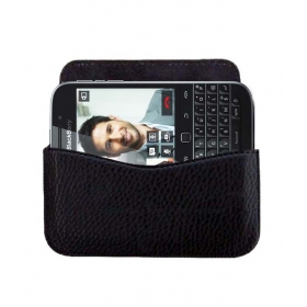 Horizontal Leather Carry Case For Blackberry Classic Mobile Cover Pouch Premium Holder Black