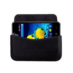 Horizontal Leather Carry Case For Karbonn Titanium S15 Mobile Cover Pouch Premium Holder Black