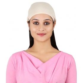 Beige Cotton Beanies Cap For Women