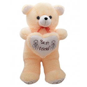 Beautiful Cream Fur With Heart Teddy Bear - 60 Cm