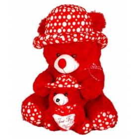Ads Toys Cute Red Fur With Baby Teddy Bear- 65 Cm