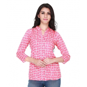 Pink Poly Crepe Semi Formal Shirt