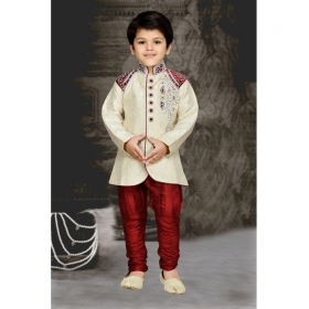Maroon Kids Sherwani And Breeches Set
