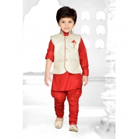 Red Kids Kurta, Waisatcoat And Breeches Set