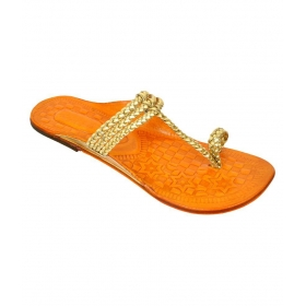 Gold Flat Ethnic Footwear