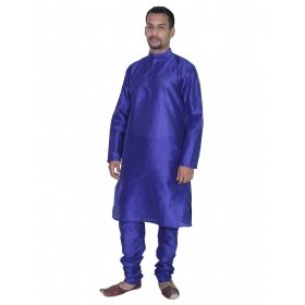 Amg Men's Silk Navy Blue Kurta Navy Blue Pyjama_amg-1006