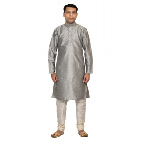 Amg Men's Silk Grey Kurta White Pyjama_amg-1028