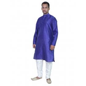 Amg Men's Silk Blue Kurta Blue Pyjama_amg-1031