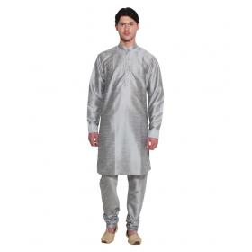 Amg Men's Silk Grey Kurta Grey Pyjama_ Amg-1035