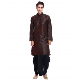 Amg Men's Silk Brown Kurta Black Dhoti_amg-1101