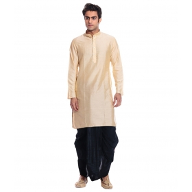 Amg Men's Silk Gold Kurta Black Dhoti_amg-1103