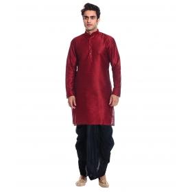 Amg Men's Silk Red Kurta Black Dhoti_amg-1105