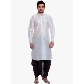 Amg Men's Silk White Kurta Black Dhoti_amg-1116