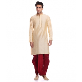 Amg Men's Silk Gold Kurta Black Maroon_amg-1117