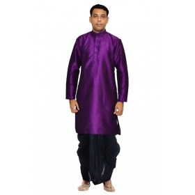 Amg Men's Silk Purpple Kurta Black Dhoti_amg-1120
