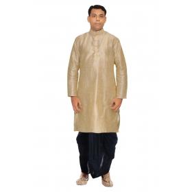 Amg Men's Silk Multiduppion Kurta Black Dhoti_amg-1124
