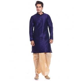 Amg Men's Silk Navy Blue Kurta Gold Dhoti_amg-1125
