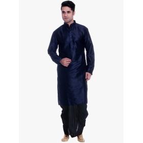 Amg Men's Silk Navy Blue Kurta Black Dhoti_amg-1128