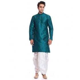 Amg Men's Silk Green Kurta White Dhoti_amg-1141