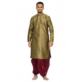 Amg Men's Silk Coper Gold Kurta Black Dhoti_amg-1142