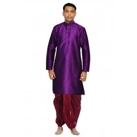 Amg Men's Silk Purpple Kurta Maroon Dhoti_amg-1143