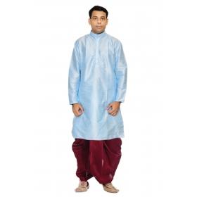 Amg Men's Silk Sky Blue Kurta Maroon Dhoti_amg-1146