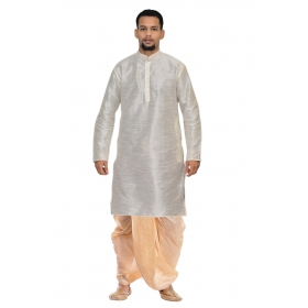 Amg Men's Silk White Kurta Gold Dhoti_amg-1158