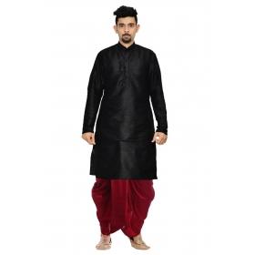 Amg Men's Silk Black Kurta Maroon Dhoti_amg-1176