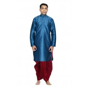 Amg Men's Silk Green Kurta Maroon Dhoti_amg-1179