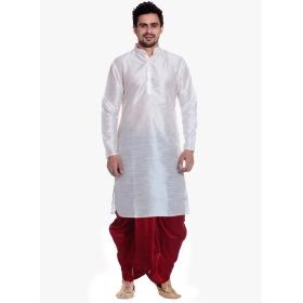 Amg Men's Silk White Kurta Maroon Dhoti_amg-1187