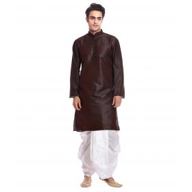 Amg Men's Silk Brown Kurta White Dhoti_amg-1188