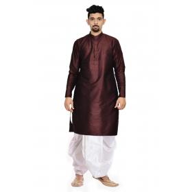 Amg Men's Silk Brown Kurta White Dhoti_amg-1192