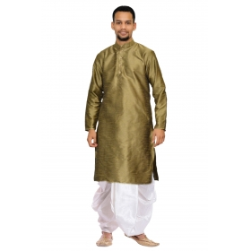 Amg Men's Silk Copper Gold Kurta White Dhoti_amg-1194