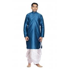 Amg Men's Silk Green Kurta White Dhoti_amg-1195