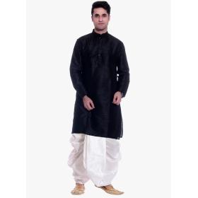 Amg Men's Silk Black Kurta White Dhoti_amg-1197