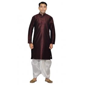 Amg Men's Silk Brown Kurta White Dhoti_amg-1201