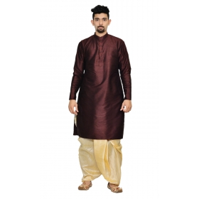 Amg Men's Silk Brown Kurta Gold Dhoti_amg-1204
